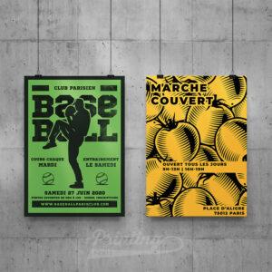 Poster Affiche noir et blanc A3 A4 Paris
